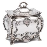 An Edward VII silver tea caddy, maker George Nathan & Ridley Hayes, Chester,