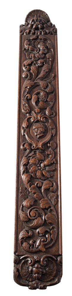 Lot 473 - A late 17th Century Friesian carved oak mangle board: of arched form,