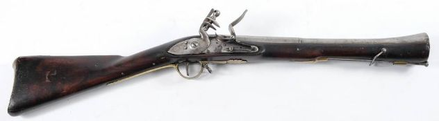 A 19th century Anglo-Indian flintlock blunderbuss: the 16 3/4 inch two stage steel barrel with