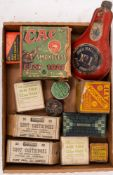 A collection of early 20th century cartridge boxes and powder flasks etc.