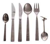 Of Concorde Interest:- a set of stainless steel flatware by Arthur Price, England,