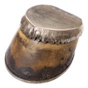 A late Victorian/ early Edwardian silver plate mounted horse hoof tobacco box: the cover inscribed