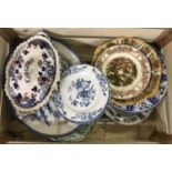 A box of assorted china, to include meat platters, tureen and Royal Staffordshire plate.