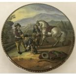 "A Victorian Prattware pot lid ""Preparing for the Ride""."