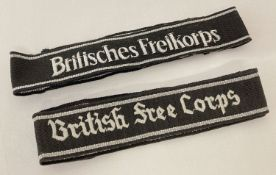"""A pair of reproduction """"British Free Corps """" cuff titles."""
