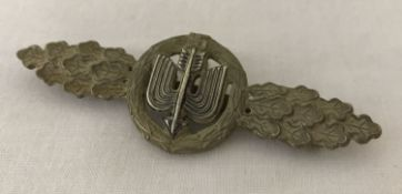 A WWII style German Luftwaffe Day Fighters pin back clasp, silver award.
