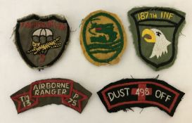 5 Vietnam War era in country hand made embroidered patches.