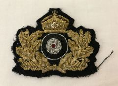 A WWI style Imperial German Navy Officers bullion cap badge.