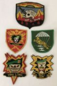 5 Vietnam War era embroidered Special Forces patches.