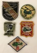 5 Vietnam War era embroidered Helicopter Crew patches.