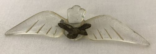 A WWII style R.A.F clear Lucite sweetheart badge.
