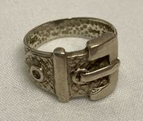 A vintage silver buckle dress ring with diamond shaped decoration.