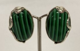 A pair of 925 silver clip-on earrings set with green striped stone, in an Art Nouveau style setting.