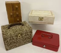 2 vintage jewellery boxes together with a vanity case and a red metal cash box.