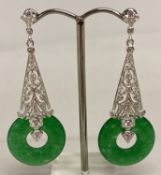 A pair of 925 silver and jade drop earrings.