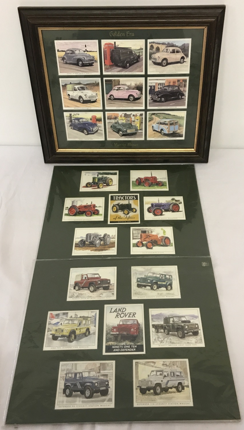 Lot 158 - A framed and glazed set of mounted Morris Minor collectors cards.