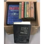 A collection of military related books to include Jane's Fighting Ships 1983-4.