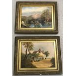 A pair of antique unsigned oil on board paintings in gilt frames.