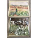 2 vintage framed oil on board paintings.