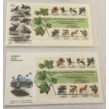 """2 Canadian """"International Philatelic Exhibition"""" first day covers. Each showing a pane of 8 stamps."""