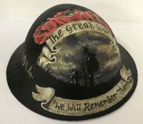 A British WWI style Brodie helmet with post war memorial hand painted detail.