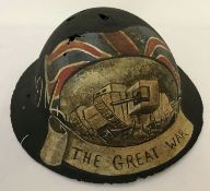 A WWI style British Brodie helmet with hand painted post war memorial.