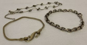 3 silver bracelets. A wheat style silver gilt chain bracelet with hook and eye clasp.