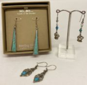 3 pairs of turquiose set earrings. A boxed pair of silver and turquoise drop earrings by So…Bo…