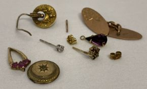 A small quantity of scrap 9 ct gold. To include some pieces stone set.