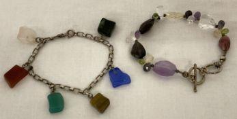 2 silver and natural/semi precious stones bracelets.