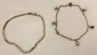 2 silver ankle chains.