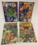 4 Comic Books by Marvel Comics: The Might Thor #256, X-Man #15, Wolverine #41 & #100.