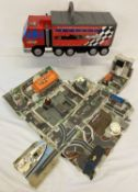 2 x 1990's Micro Machines large truck fold out playsets.