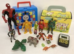 A quantity of misc. vintage toys to include painted wooden box and poseable play figures.