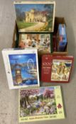 A box of vintage and modern puzzles. To include Waddington's, Hop and Otter House.