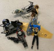 3 unboxed Action Man vehicles together with their dolls, outfits and accessories.