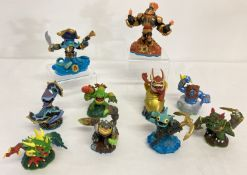 10 Skylanders interactive play pieces from Swap Force and Sypro's Adventure.
