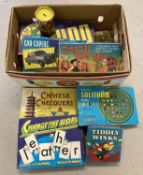 A quantity of vintage Spears board games together with a tin of Pick Up Monkeys a 2 Childrens books.