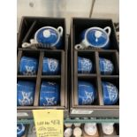 (2) Ensembles de service à thés - porcelaine - Poisson