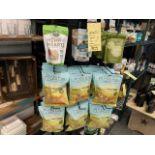 Lot d'approx (50) sacs de produits alimentaires variés et rack