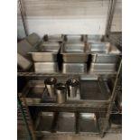 Gros Lot de contenants acier inox sur rack