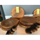 Lot de 12 plateaux en bois avec poignees