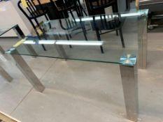 """Belle Table à diner dessus en vitre 55 x 32"""" - pattes chromes"""