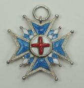 Bayern: Hausritterorden vom Heiligen Georg, Bruststern Miniatur.Silber, teilweise emailliert, das