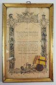 Baden: Felddienstauszeichnung, mit Spange 1870-1871, dazu eine Urkunde.Medaille an Einzelschnalle