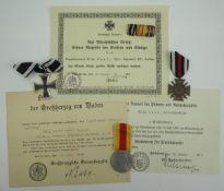 Baden: Nachlass eines Vizefeldwebel der 9./ Infanterie-Regiment No. 470.1.) Preussen: Eisernes