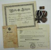 Bayern: Nachlass eines Landsturm Mannes des Landwehr-Fußartillerie-Batl. 60.Ordenschnalle mit 1.)