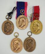 Bayern: Jubiläumsmedaille für die bayerische Armee (1905) - 5 Exemplare.Bronze.Zustand: II