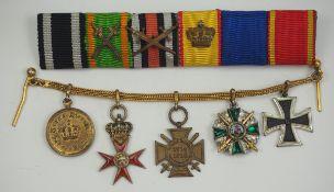 Baden: Miniaturenkette eines Frontoffiziers mit 5 Auszeichnungen.1.) Preussen: Eisernes Kreuz, 1914,