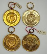 Bayern: Militär Dienstauszeichnung, 2. Klasse, für 12 Jahre - 4 Exemplare.Je vergoldet.Zustand: I-